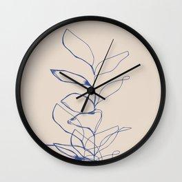 Plant line art drawing Wall Clock