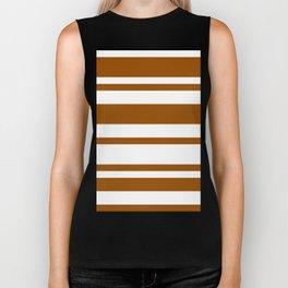Mixed Horizontal Stripes - White and Brown Biker Tank