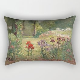 Theodore Clement Steele - Iris and Trees. In The Flower Garden Rectangular Pillow
