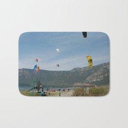 Kitesurfing at Akcapinar, Gokova Akyaka, Turkey Bath Mat