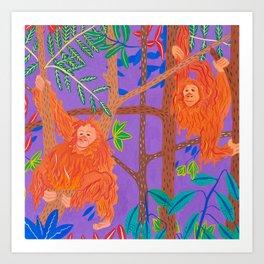 Orangutans in the Jungle Treetops Art Print