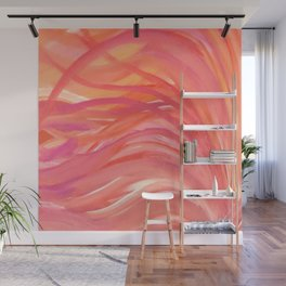 Abstract Pink Orange Purple Stripes Painting Girl Summer Colorful Wall Mural
