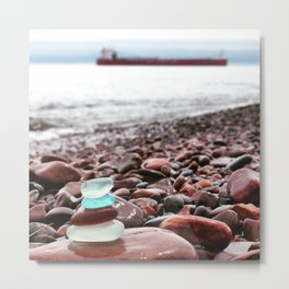 Beach Glass Cairn with a Big Boat Metal Print