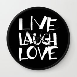 LIVE, LAUGH, LOVE black Wall Clock