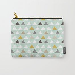 Mod Mint Triangles Carry-All Pouch