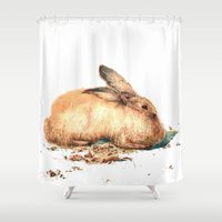 bunny Shower Curtains featuring Bunny by Ivanushka Tzepesh