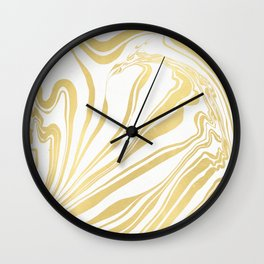Bronze Copper Gold Rush Marble Ink Swirl Wall Clock