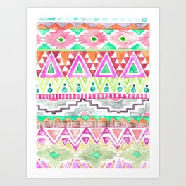 Watercolor Aztec Pattern Pink Art Print