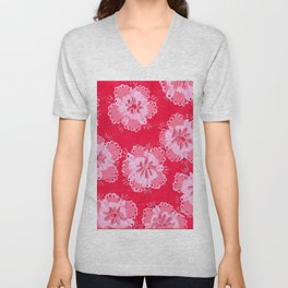 Cranberry Lace Rose Unisex V-Neck