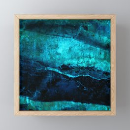 Beneath - Abstract in navy blue and turquoise Framed Mini Art Print