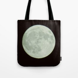 Bright white full moon with black sky Tote Bag