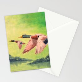 Mallard Ducks In Flight Stationery Cards