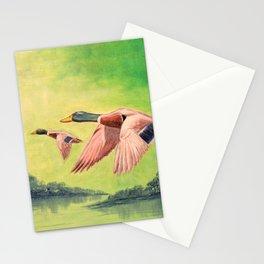 Mallard Ducks In Flight Stationery Cards