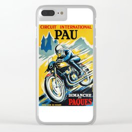 Grand Prix de Pau, Race poster, vintage motorcycle poster, retro poster, Clear iPhone Case