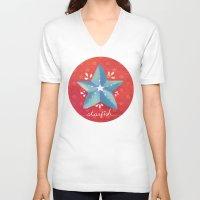 starfish V-neck T-shirts featuring Starfish by Anoosha Syed