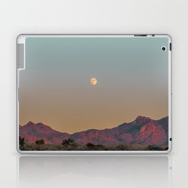 Sunset Moon Ridge // Grainy Red Mountain Range Desert Landscape Photography Yellow Fullmoon Blue Sky Laptop & iPad Skin
