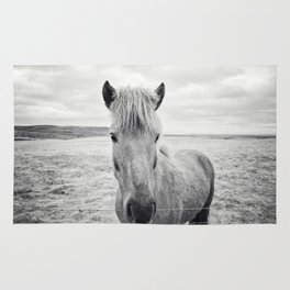 Horse Print | Black and White Rustic Horse Art Rug