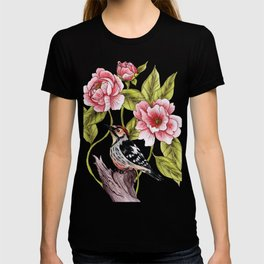 Woodpecker & Peonies - Floral/Bird Design T-shirt
