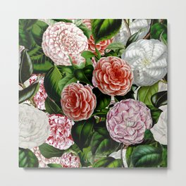Vintage & Shabby Chic Green Large Dark Floral Camellia  Flowers Watercolor Pattern Metal Print