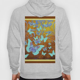 Coffee Brown Celadon Color Butterflies Abstract & Yellow Hoody