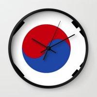 korean Wall Clocks featuring South Korean Flag  by Laura Ruth