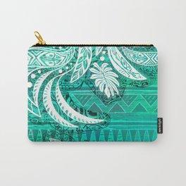 Hawaiian - Samoan - Polynesian Teal Tribal Ink Carry-All Pouch
