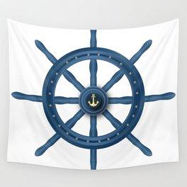 Ship Wheel Blue Rudder Wall Tapestry