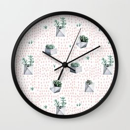 Potted Succulents Pink Polka Dots Wall Clock
