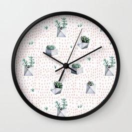 Potted Succulents Pink Polka Dots Wall Clock