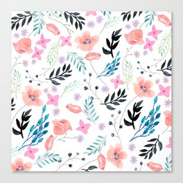 Sweet Floral Watercolor Canvas Print