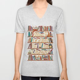 When in Dubt go to the library Unisex V-Neck