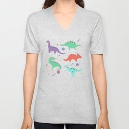 Dinosaurs in Coral Space Unisex V-Neck