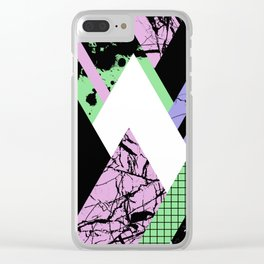Textured Points - Marbled, pastel, black and white, paint splat textured geometric triangles Clear iPhone Case