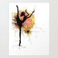 dancer Art Prints featuring dancer by liva cabule