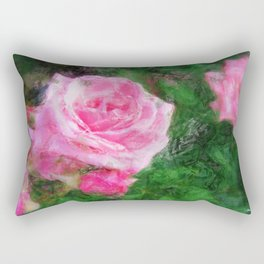 Pink Roses in Anzures 1 Sketchy Rectangular Pillow
