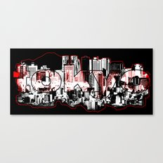 Tokyo skyline with Mount Fuji silhouette Canvas Print