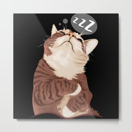 Sleeping cat with speechbubble zzz Metal Print
