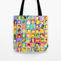 simpsons Tote Bags featuring Simpsons by thev clothing