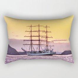 Frigate at sunset Rectangular Pillow