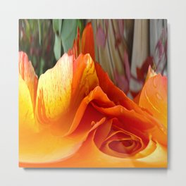 492 - Abstract Orange and Yellow Rose Metal Print