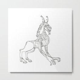 Wendigo Crouching Doodle Art Metal Print