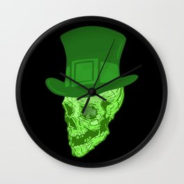 Skull Leprechaun Wall Clock