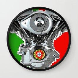 Portuguese Biker flag Wall Clock