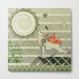 A wolf on fire Amaterasu Metal Print