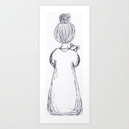 Girl with a teddy bear Art Print