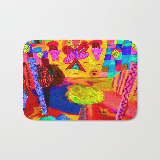 Colorful Feast   Kids Painting Bath Mat