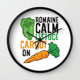 Funny Romaine Calm Lettuce Carrot On Wall Clock