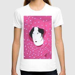 Girly Japanese Geisha Illustration Pink Pattern T-shirt