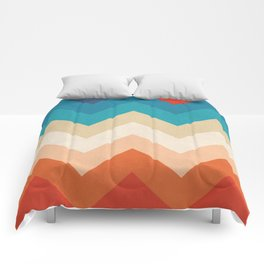 Vintage 70s Adventure on the Mountains Comforters