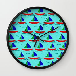 Little Sailboats on the Water Wall Clock